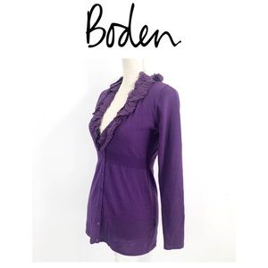 Boden 100% Wool Purple Cardigan With Trim